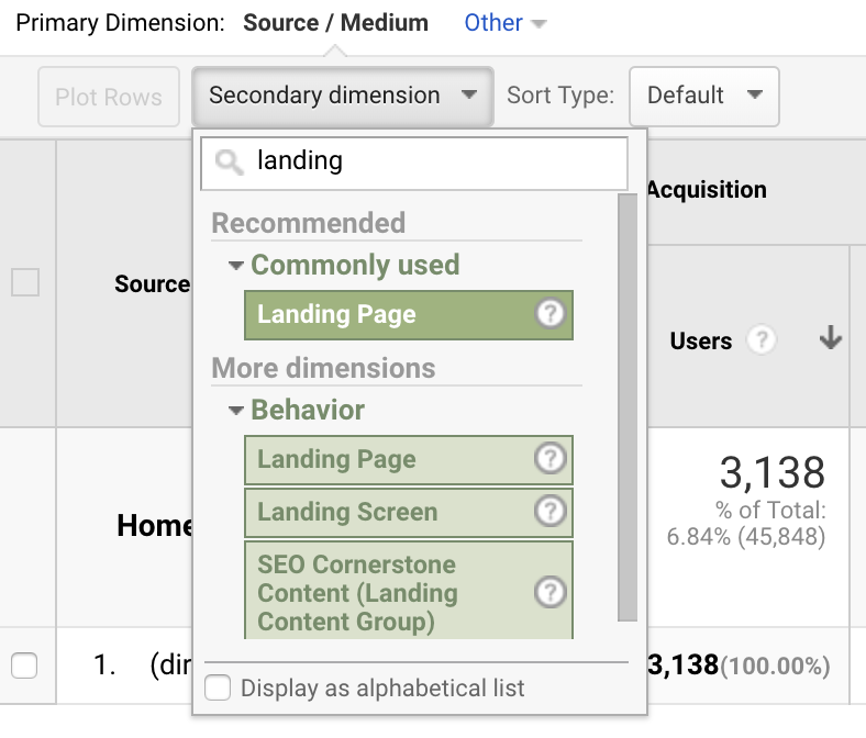 """Secondary dimension of """"landing page"""""""