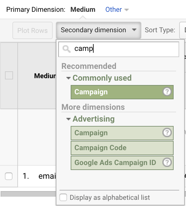 secondary dimension of campaign in google analytics