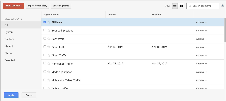 adding a custom segment filter in google analytics
