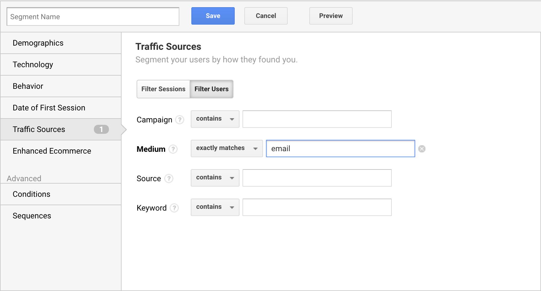 custom segment of email in google analytics