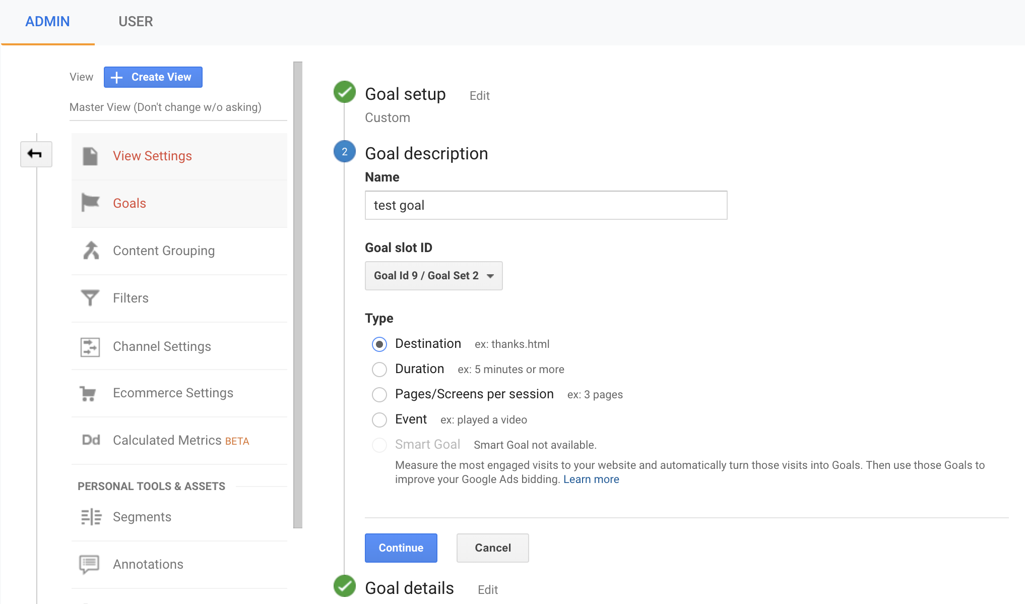 set up goal funnels in google analytics