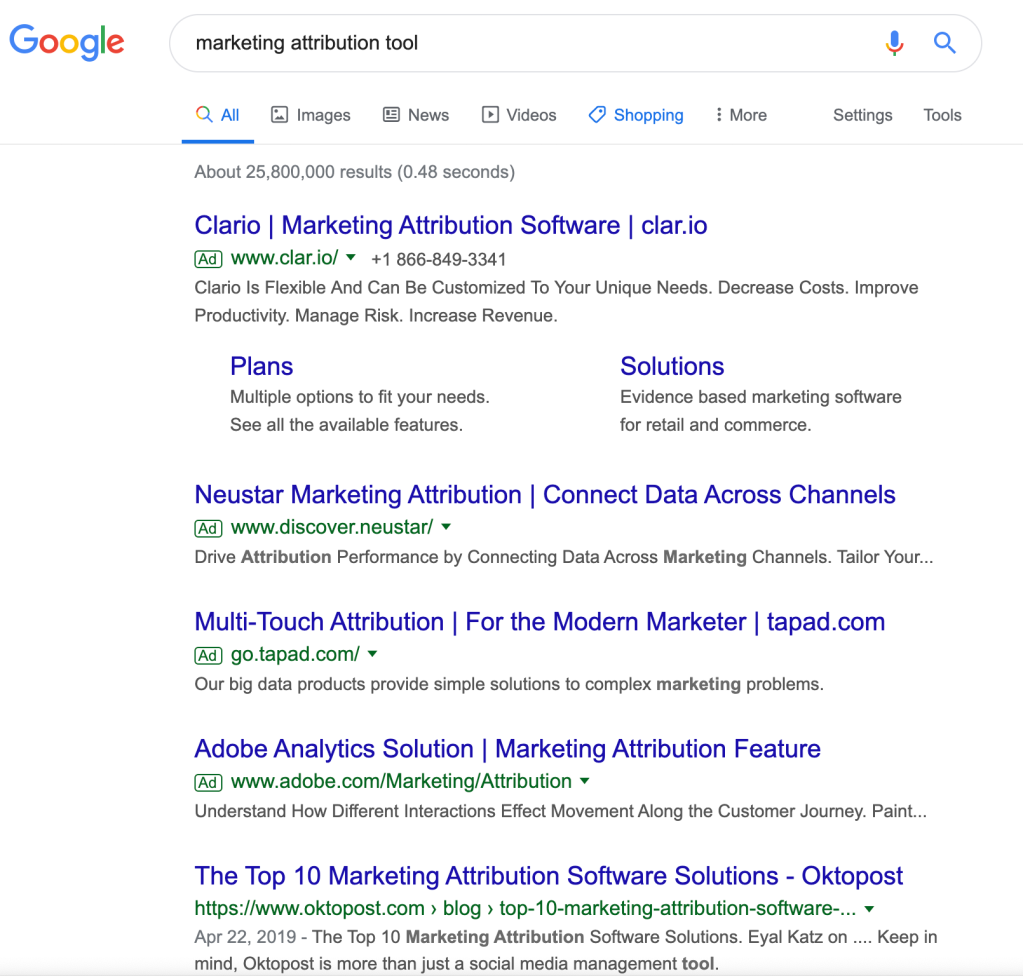 search results for marketing attribution tools